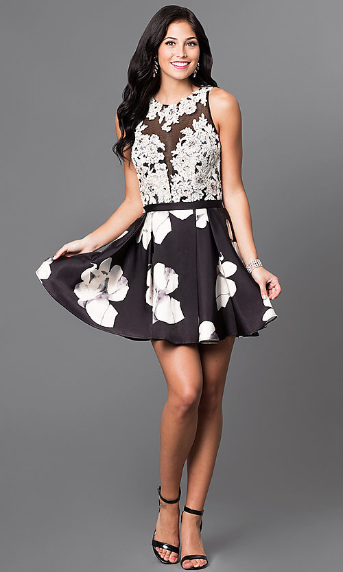 Image of satin skirt lace bodice short homecoming dress. Style: TI-GL-1625H2111 Detail Image 1