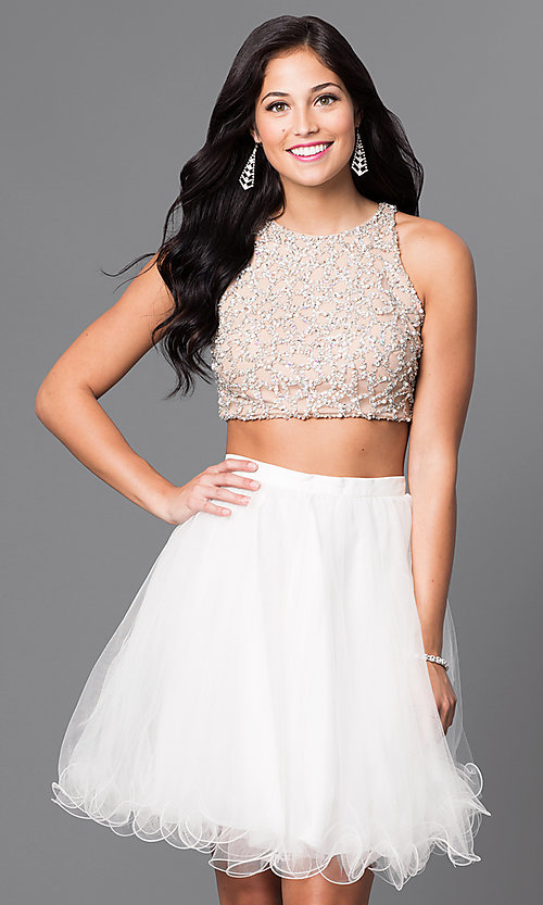 Image of two-piece knee-length ivory homecoming party dress. Style: TI-GL-DL311 Front Image