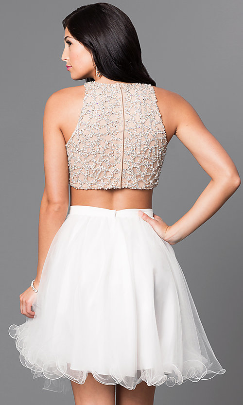 Image of two-piece knee-length ivory homecoming party dress. Style: TI-GL-DL311 Back Image