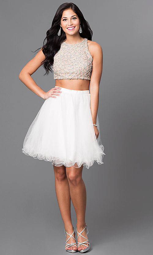 Image of two-piece knee-length ivory homecoming party dress. Style: TI-GL-DL311 Detail Image 1