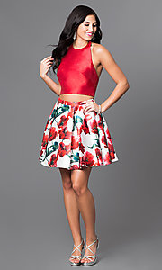 Image of two-piece red floral print homecoming dress. Style: TI-GL-1625H1200 Detail Image 1