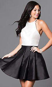Image of ivory and black short high-neck designer halter dress. Style: TI-GL-1625H1189 Front Image