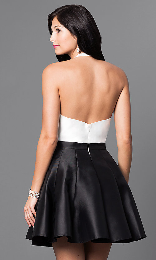 Image of ivory and black short high-neck designer halter dress. Style: TI-GL-1625H1189 Back Image