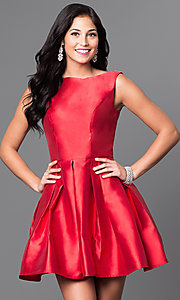 Image of short red satin bateau neck homecoming dress. Style: TI-GL-1625H1190 Front Image