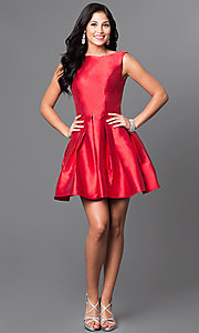 Image of short red satin bateau neck homecoming dress. Style: TI-GL-1625H1190 Detail Image 1