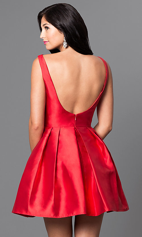 Image of short red satin bateau neck homecoming dress. Style: TI-GL-1625H1190 Back Image