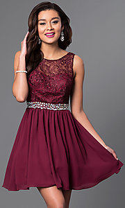 Image of short chiffon homecoming dress with lace bodice.  Style: MQ-836564-B Front Image