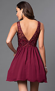 Image of short chiffon homecoming dress with lace bodice.  Style: MQ-836564-B Back Image