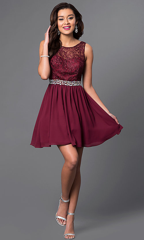 Image of short chiffon homecoming dress with lace bodice.  Style: MQ-836564-B Detail Image 1