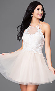 Image of short lace-bodice halter babydoll homecoming dress. Style: MQ-3100899 Front Image