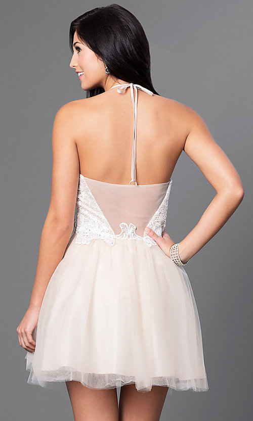 Image of short lace-bodice halter babydoll homecoming dress. Style: MQ-3100899 Back Image