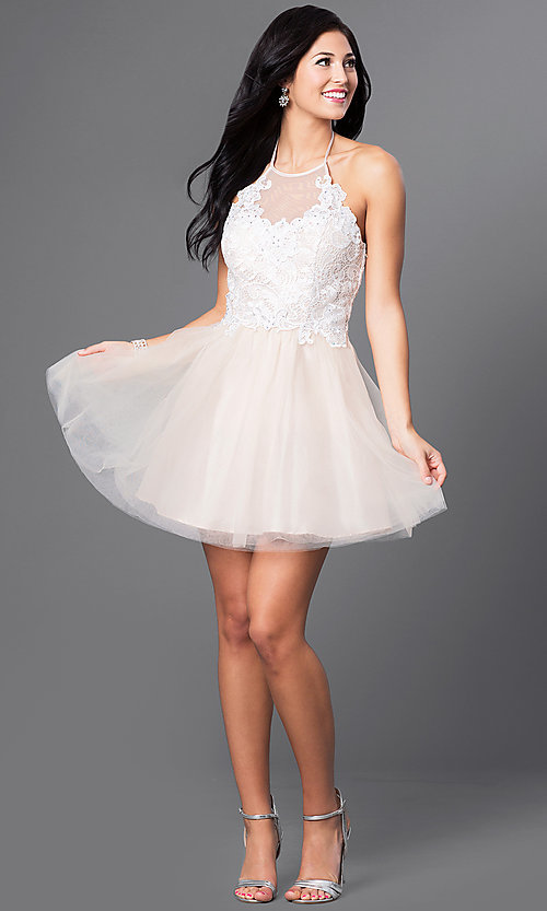 Image of short lace-bodice halter babydoll homecoming dress. Style: MQ-3100899 Detail Image 1