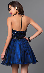 Image of short sequined-bodice halter homecoming dress. Style: MQ-6901030 Back Image
