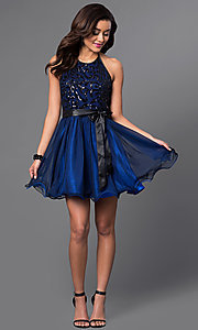 Image of short sequined-bodice halter homecoming dress. Style: MQ-6901030 Detail Image 1