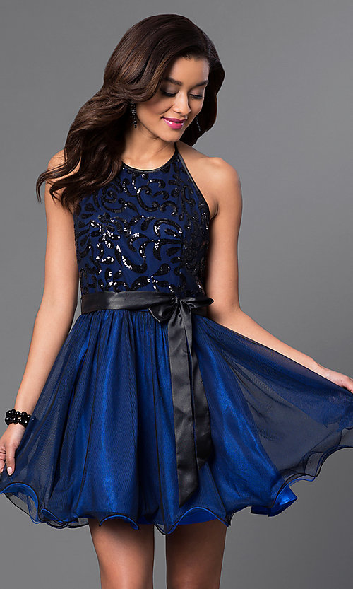 Image of short sequined-bodice halter homecoming dress. Style: MQ-6901030 Front Image