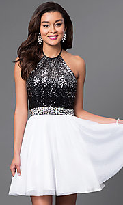Image of short halter homecoming dress with sequined bodice. Style: MQ-7030942 Front Image