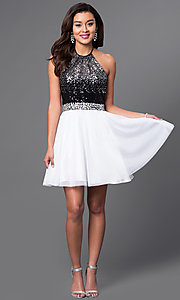Image of short halter homecoming dress with sequined bodice. Style: MQ-7030942 Detail Image 1