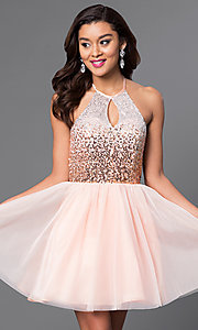 Image of short keyhole sequin-bodice halter homecoming dress. Style: MQ-7031174 Front Image