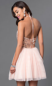 Image of short keyhole sequin-bodice halter homecoming dress. Style: MQ-7031174 Back Image