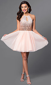 Image of short keyhole sequin-bodice halter homecoming dress. Style: MQ-7031174 Detail Image 1