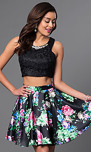 Image of short two-piece print-skirt and lace-top dress. Style: MQ-9031188 Front Image