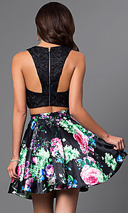 Image of short two-piece print-skirt and lace-top dress. Style: MQ-9031188 Back Image