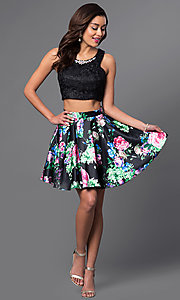 Image of short two-piece print-skirt and lace-top dress. Style: MQ-9031188 Detail Image 1