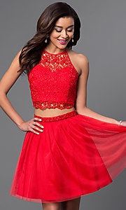 Image of two-piece red halter dress with lace bodice. Style: MQ-7870902 Front Image