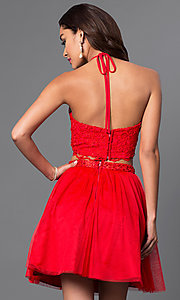 Image of two-piece red halter dress with lace bodice. Style: MQ-7870902 Back Image