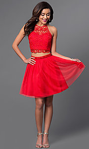 Image of two-piece red halter dress with lace bodice. Style: MQ-7870902 Detail Image 1
