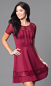 Image of short-sleeve homecoming dress with illusion lace. Style: LP-21677 Front Image