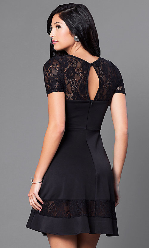 Image of short-sleeve homecoming dress with illusion lace. Style: LP-21677 Back Image