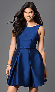 Pleated Bateau Neckline Homecoming Dress