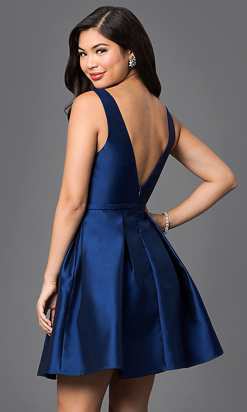 Image of pleated bateau neckline homecoming dress. Style: LP-23421 Back Image