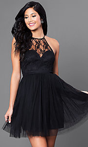 Image of short lace-bodice black tulle homecoming dress. Style: LP-23428 Front Image