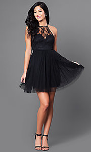 Image of short lace-bodice black tulle homecoming dress. Style: LP-23428 Detail Image 1