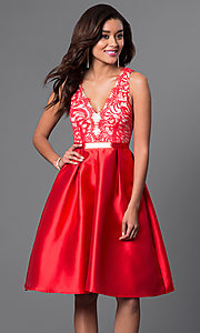 Image of knee-length lace-bodice homecoming dress. Style: LP-23536 Detail Image 1
