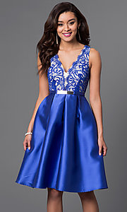 Image of knee-length lace-bodice homecoming dress. Style: LP-23536 Detail Image 2
