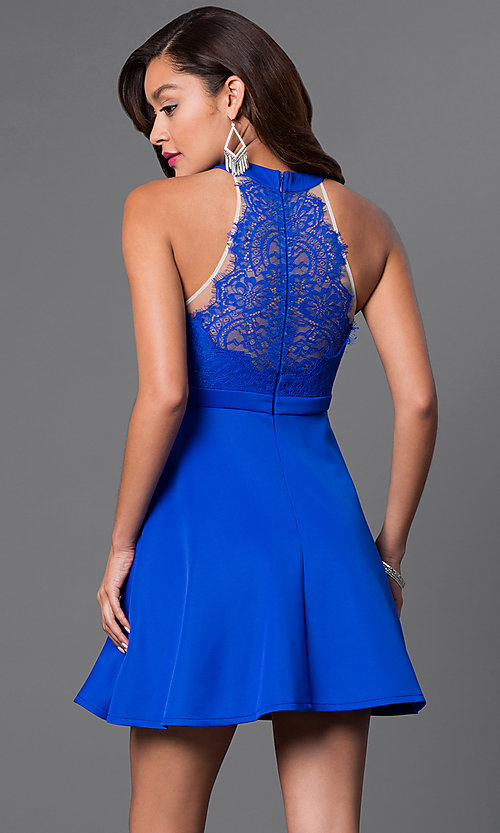 Image of sheer-lace back high-neck short dress.  Style: LP-23686 Back Image