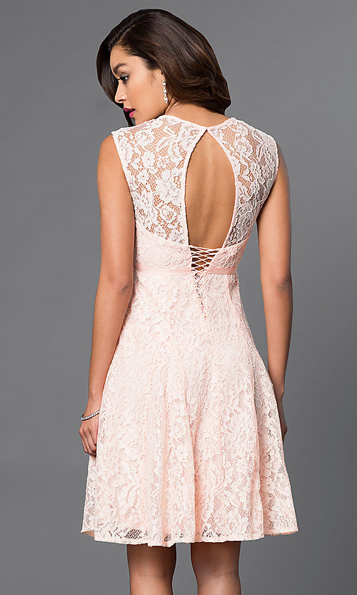 Image of knee-length corset homecoming dress  Style: LP-23734 Back Image