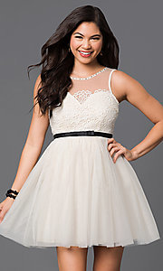 Illusion-Neckline Lace-Applique Short Dress