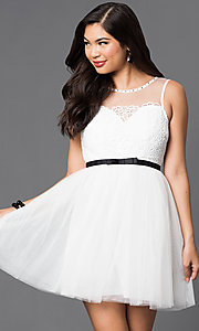 Image of illusion-neckline lace-applique short dress Style: LP-23778 Detail Image 3