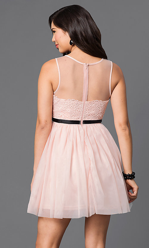 Image of illusion-neckline lace-applique short dress Style: LP-23778 Back Image