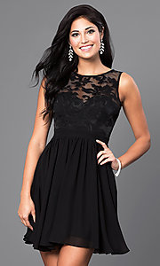 Image of lace-embellished sleeveless homecoming party dress. Style: LP-23801 Front Image
