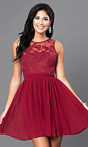 Image of lace-embellished sleeveless homecoming party dress. Style: LP-23801 Detail Image 1