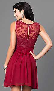 Image of lace-embellished sleeveless homecoming party dress. Style: LP-23801 Back Image