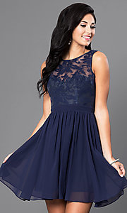 Image of lace-embellished sleeveless homecoming party dress. Style: LP-23801 Detail Image 3