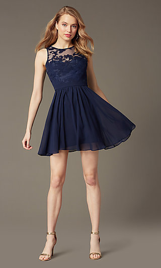 Lace-Embellished Sleeveless Homecoming Party Dress