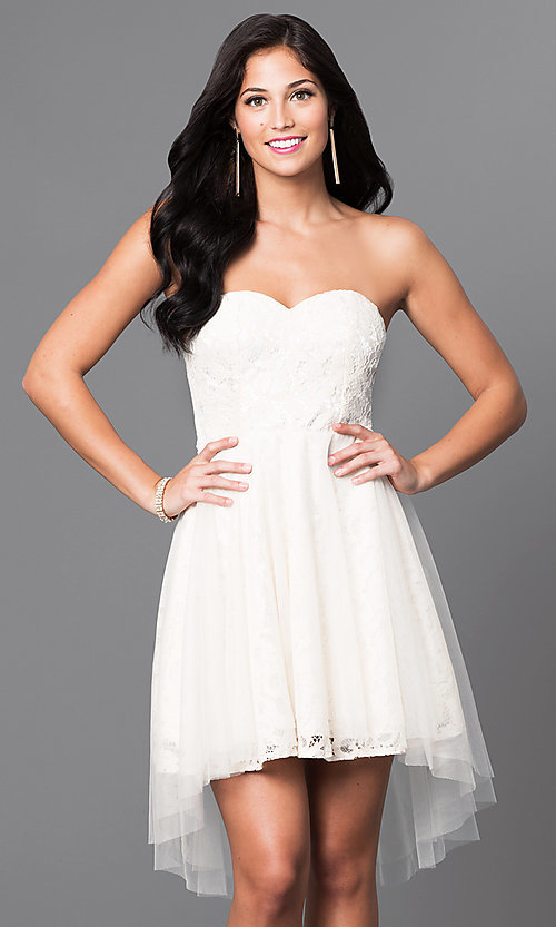 Image of strapless high-low lace homecoming dress. Style: LP-23894 Detail Image 1