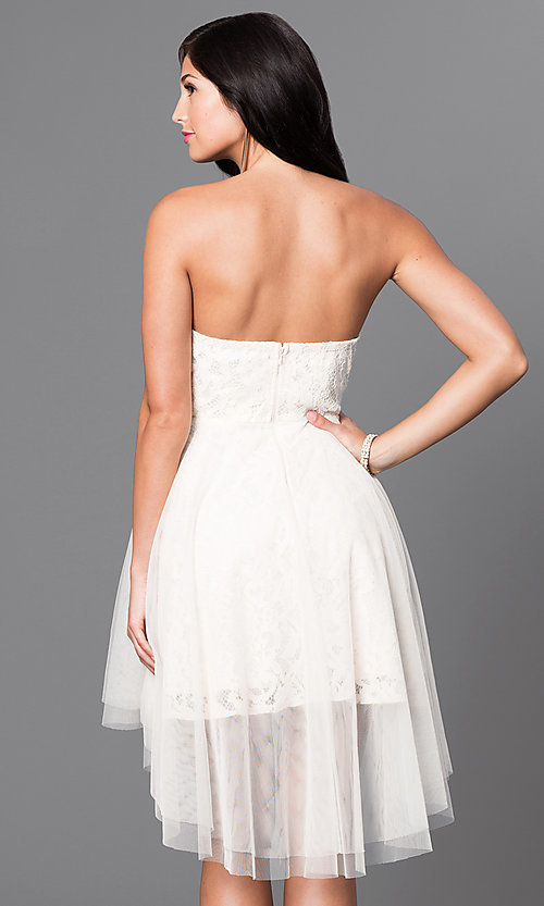 Image of strapless high-low lace homecoming dress. Style: LP-23894 Back Image